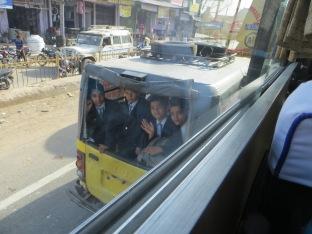 school kids in jeep