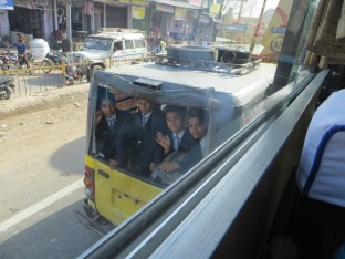 school kids in jeep