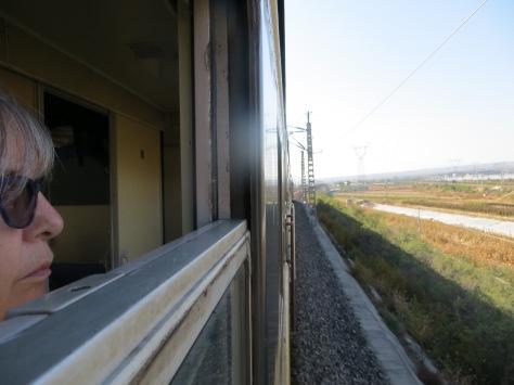 AM at train window