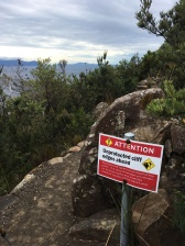 Sign before top of cape