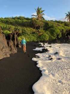 Anne-Marie on black sand beach - photo Ken