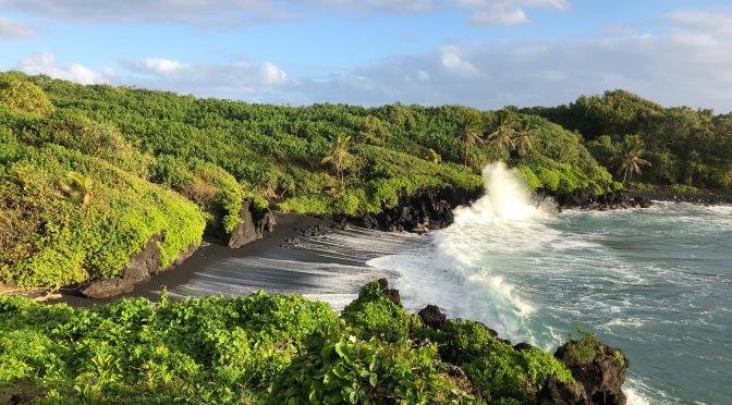 Maui's black sand beach