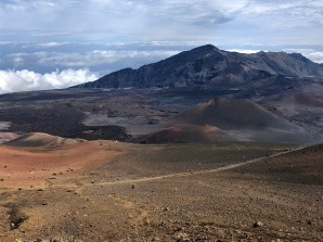 Haleakala Crater - On the right, two hikers ascending