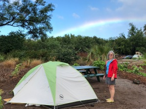 AM with tent and rainbow - photo Ken